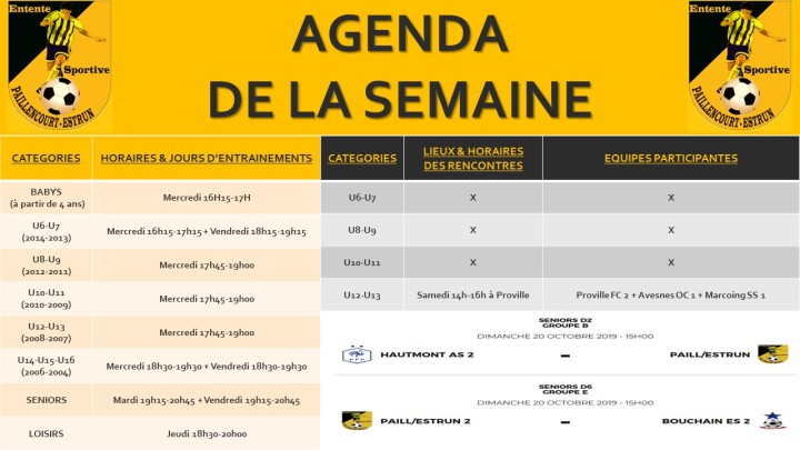 AGENDA DE LA SEMAINE(1)