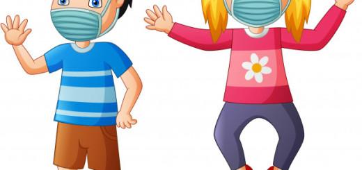 dessin-anime-enfants-heureux-porter-masque-protection-contre-virus-illustration_162786-55